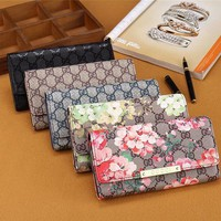 DCCK6HW Gucci' Women Purse Retro Classic Double G Flower Print Long Section Three Fold Wallet Handbag