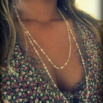 Extra Long Chain Necklace, Long Silver Chain, Accent Chain, Sequin Chain