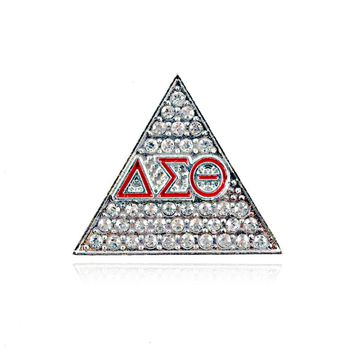 Rhinestones Triangle Greek Brooch Delta Sigma Theta Pin