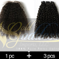 10A 300g Brazilian remy hairs double drawn weaves weft & silk base closure