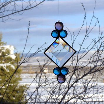 Beveled Glass and Gem Stained Glass Suncatcher - Clear Bevel, Blue and Purple Glass Gems