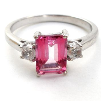 Pink Sapphire Ring Sterling Silver Size 9