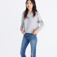 Embroidered Cutoff Sweatshirt