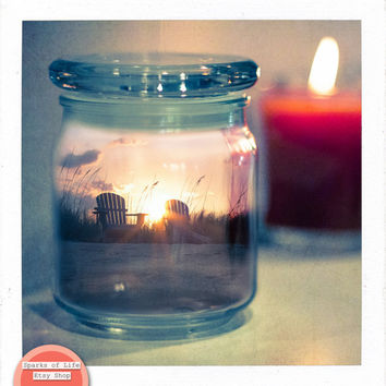 Square printable, digital download, sunset, fine art photography, surrealism, summer in a jar, beach, unique wall art, eclectic home decor