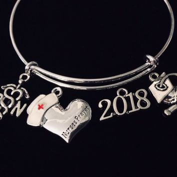 Graduating RN 2018 Cap and Dipolma Nurse Prayer Jewelry Adjustable Bracelet Silver Expandable Charm Bangle One Size Fits All Blessing Pinning Gift