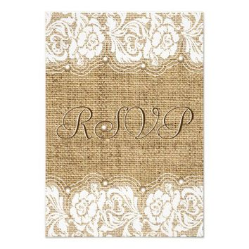 White lace and pearls on linen burlap wedding RSVP Custom Invitation from Zazzle.com