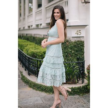 Madison Sage Lace Midi Dress