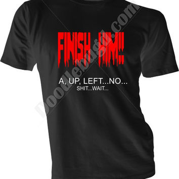 Finish him Mortal Kombat finishing move code mess up sarcastic pink black white purple unisex adult tshirt, funny geek gift idea him her