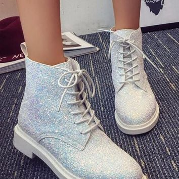White Round Toe Chunky Sequin Cross Strap Fashion Ankle Boots