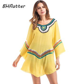New Bohemian Dress Women Embroidery Boho Style Mini Beach Dress Cotton Linen Casual Shift Summer Dress