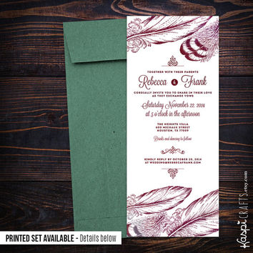 Elegant wedding invitation, feathers invitation, printable wedding invitation, printed invitation, DIY wedding, peacock invitation