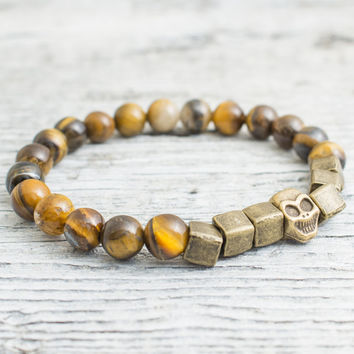 Tiger eye beaded stretchy bronze skull bracelet, custom made yoga bracelet, mens bracelet, womens bracelet