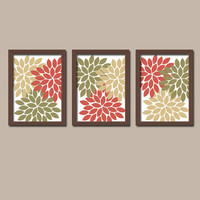 FALL Autumn Terra Cotta Charcoal Lime Colors Flower Burst Dahlia Artwork Set of 3 Trio Prints Decor Abstract Bedroom WALL ART Bathroom