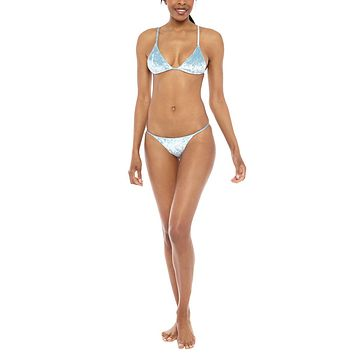 Star Gazer velvet Triangle Bikini Top - Cosmo Blue