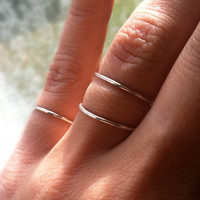 Tri Hammered Sterling Silver Stacking Rings Set