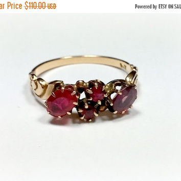 Vintage 14k Rose Gold Ring with Four Pink Tourmaline Gemstones Created Stones Prong Set Pretty Design on Band Size 6.5 Very Lovely Ring