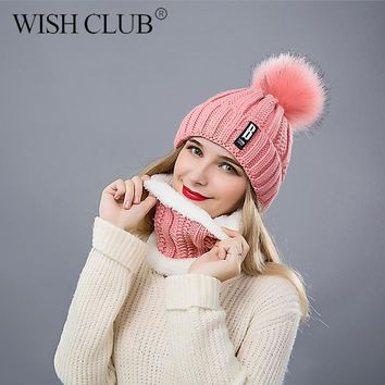 WISH CLUB Fashion Winter Hat Thickened Cotton Women's Hat Warm Pom Poms Hats For Women Girl Knitted Beanies Female Cap
