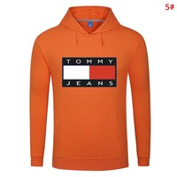 Tommy Fashion New Bust Letter Print Women Men Hooded Long Sleeve Sweater Top