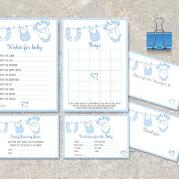 Baby Shower Games, Instant Download - Printable Set of 6: Wishes for baby, Advice, Thank you, Bingo, Predictions and Candy Guess game