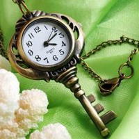 Brass Key Necklace Pendant Pocket Quartz Watch