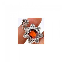 Handmade 925 sterling silver Hessonite Garnet Cut Pendant