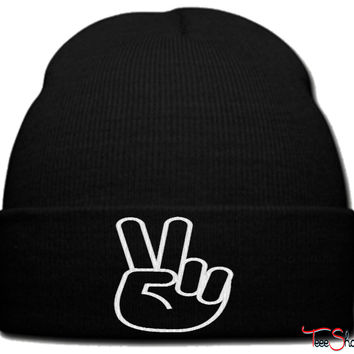 victory logo_ beanie knit hat