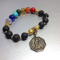 Seven Chakras Yin Yang Bracelet, Black Lava Stone, Semi Precious Gemstones with Gold Colored Lucky Coin , Perfect Gift