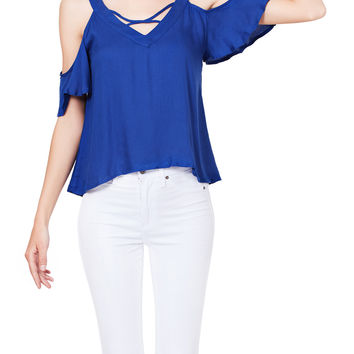 LE3NO Womens Loose Fit V Neck Cut Out Shoulder Cris Cross Blouse Top
