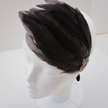 The Great Gatsby Headband 1920s Flapper Headpiece Movie Film Costumes Head Piece Wedding Bridal Flapper Bronze Feather Fascinator