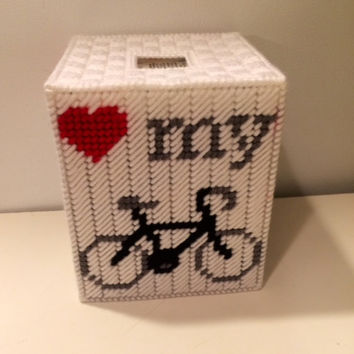 I Love My Bicycle Tissue Box Cover, Cyclist Tissue Box, Plastic Canvas Box, Custom Tissue Box, Athletic Decor, Cyclist Gift, Get Well Gift