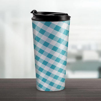 Turquoise Gingham Travel Mug - Pattern White Turquoise Gingham - 15oz Stainless Steel - Made to Order