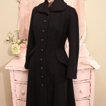 1940s WWII Black Coat,  Vintage Boucle Coat, Excellent Condition,  40s 50s Retro Coats, Katharine Hepburn Style Coat, Bonwit Teller, Medium