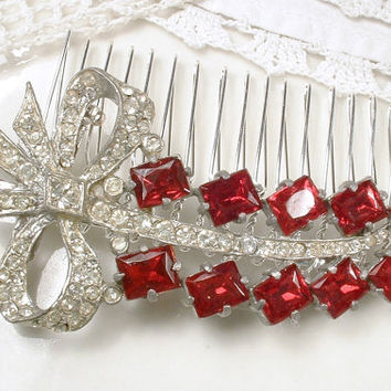 Antique Red Brooch or Bridal HAIR COMB, 1920s Art Deco Ruby Rhinestone Silver Sash Pin or OOAK Hairpiece Wedding Hair Accessory Garnet Leaf