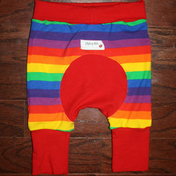 Rainbow Shortiloones, Maxaloone shorts Size 1 fits 6 months to 3 years, shorts for cloth diapered bums, rainbow stripe shorts