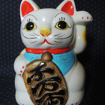 Maneki Neko porcelain Incense Burner, Ashtray, Lucky Cat