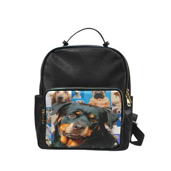 Rottweiler Print Animal Leather Backpack