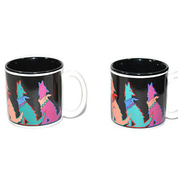 Vintage Howling Wolf Coffee Cups Wolf Coffee Cup Moonlighting Coffee Cup Southwestern Coffee Cups Set of 2 Southwestern Decor