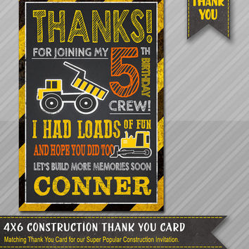 Construction Party Thank You - Construction BIRTHDAY - Dump Truck - Chalkboard Construction - Little Worker