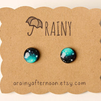 Minty Blue Galaxy Post Earrings