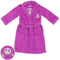 Sweet n Sassy Pink Peace Sign Plush Bath Robe for Girls $17.99