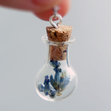 The Forest Witch - Tiny Glass Bottle Fill with Lavender Necklace