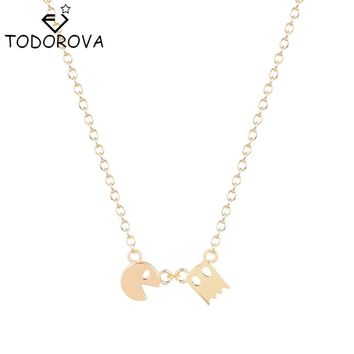 Todorova Tiny Pacman Pac Man Pendant Smiling Face Necklace Fun Angry Ghost Vintage Necklaces Gift for Women Fashion Jewlery