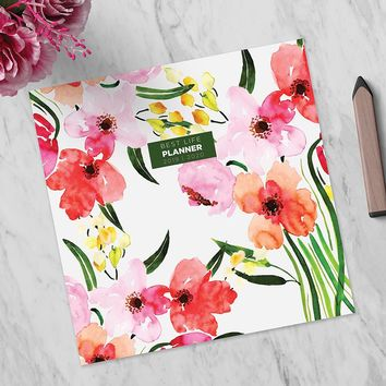 Watercolor Flowers Large Academic Monthly Planner