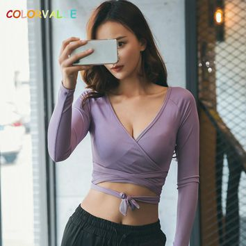 Color value Sexy V-Neck Dance Ballet Crop Top - Cross Lace-up Fitness Gym Shirts, Long Sleeve Solid Yoga Workout Top Sportwear