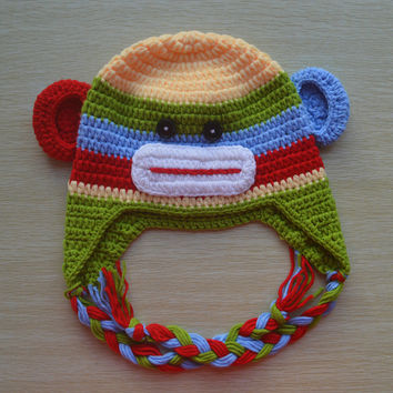 Crochet Rainbow Sock Monkey Baby Beanie/Hat