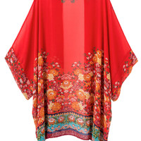 Red Floral Batwing Sleeve Kimono Coat - Choies.com