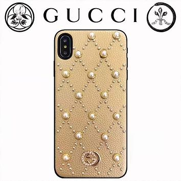 GUCCI 2019 new leather rhinestone pearl iPhoneX mobile phone case cover