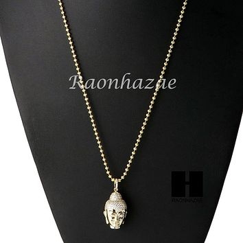 Iced Out Sterling Silver .925 AAA Lab Diamond Buddah Face w/2.5mm Moon Chain S25