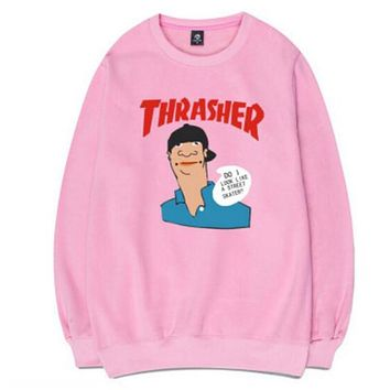 Thrasher Women Men Trending Casual Letter Print Long Sleeve Cartoon Print Top Sweater Sweatshirt Pink