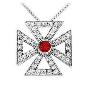 Ruby and Diamond Maltese Cross Pendant : 14K White Gold - 0.75 CT TGW